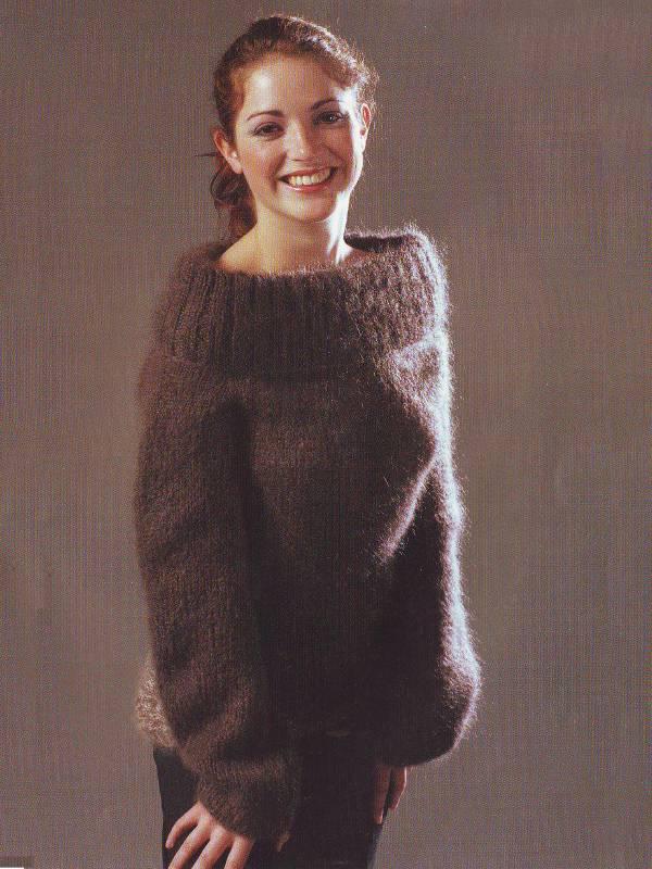 modele tricot pour tricoter gros pull pour femme bi-colore
