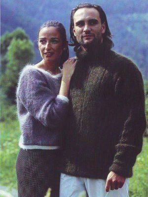 modele pour tricoter un pull bi-colore en laine mohair et soie