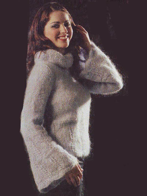 modele fiche tricot pour tricoter gros pull femme à manches évasées