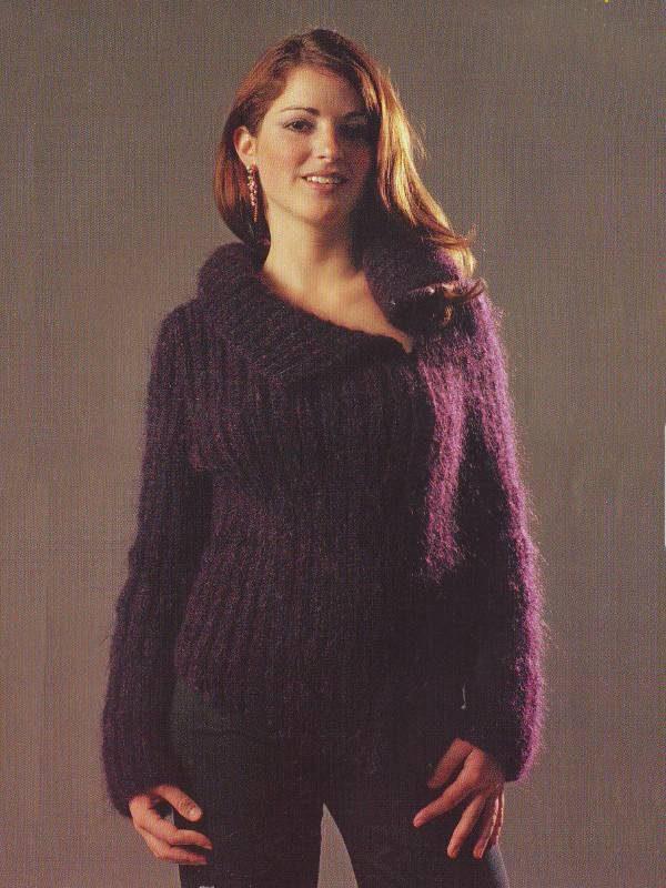 Fiche tricot pour tricoter gilet asymétrique en laine mohair