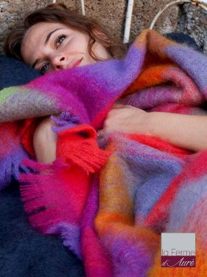 plaid mohair made in france carreaux acidules