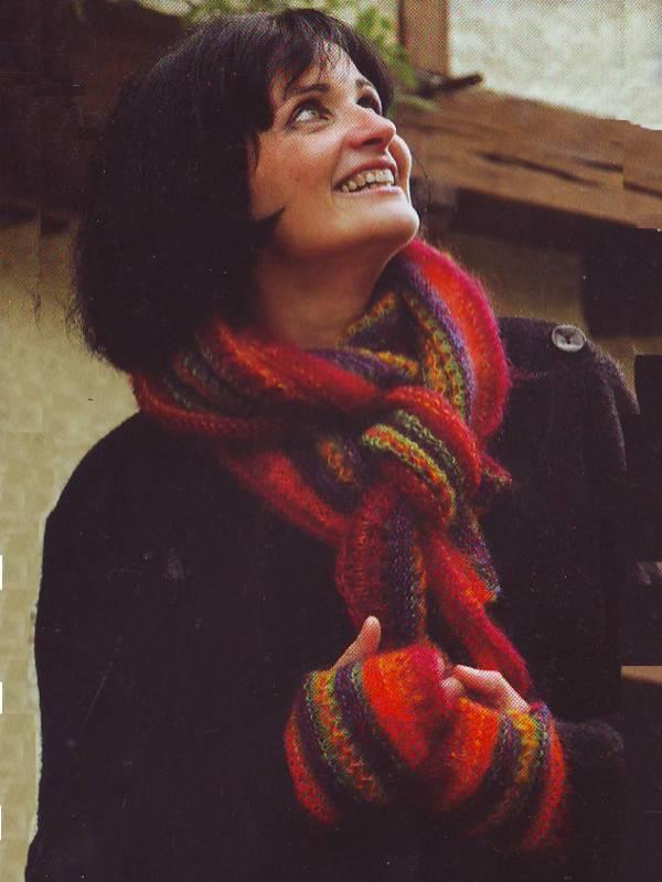 modele pour tricoter echarpe et mitaines assorties en laine mohair