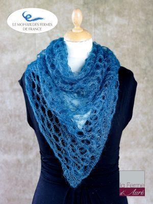 Echarpe mohair et soie foulard bleu canard par la Ferme d'Auré
