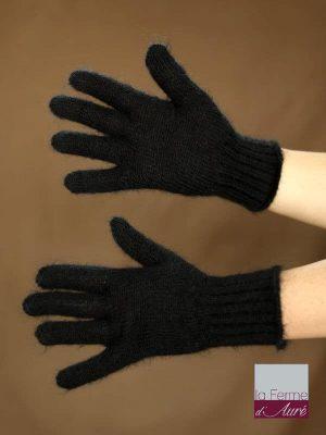 Gants laine mohair et soie noir