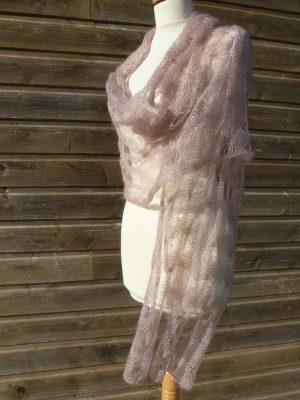 étole femme en laine mohair et soie beige rosé