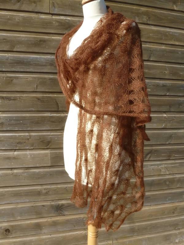 étole femme en laine mohair et soie cannelle