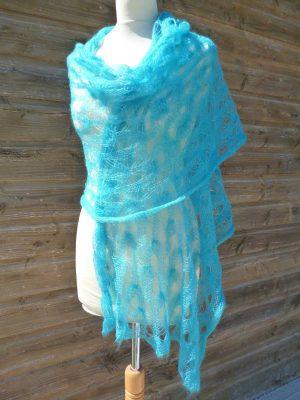 étole femme mohair & soie turquoise
