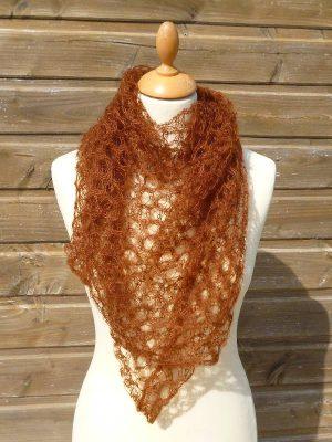 echarpe en laine mohair et soie cannelle - foulard