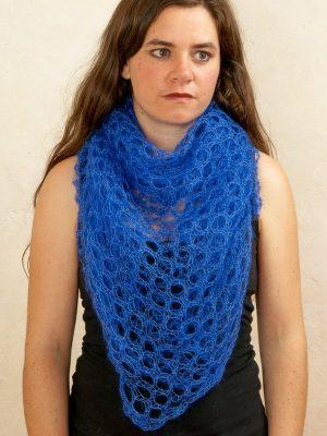 foulard en laine mohair et soie bleu