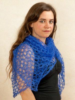 echarpe tricot laine mohair et soie bleu - foulard