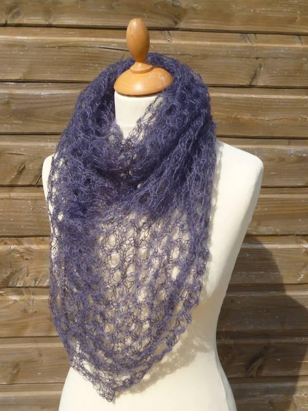 echarpe en laine mohair et soie gris ardoise - foulard