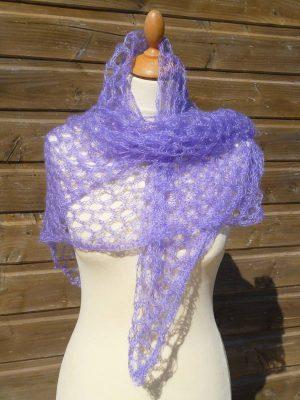 echarpe en laine mohair et soie lilas - foulard