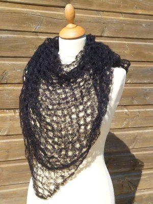 echarpe en laine mohair et soie noir - foulard