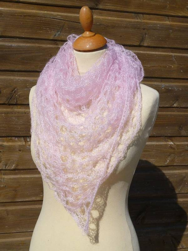 echarpe en laine mohair et soie rose poudré - foulard