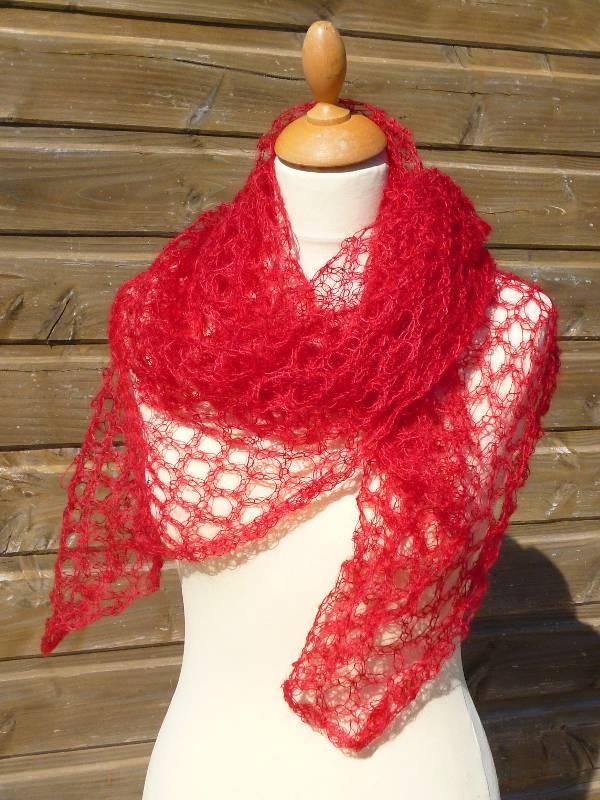 echarpe en laine mohair et soie rouge - foulard