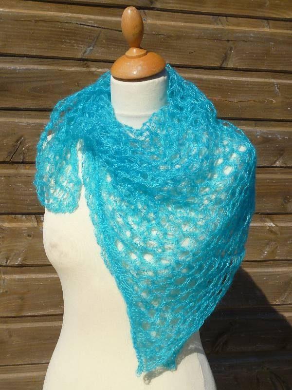 echarpe en laine mohair et soie turquoise - foulard