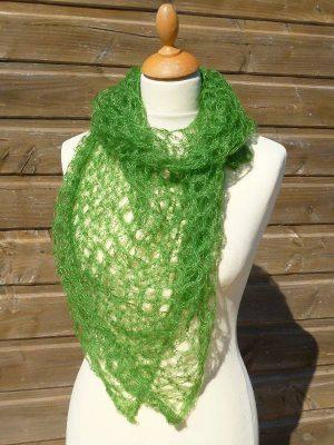 echarpe en laine mohair et soie vert - foulard