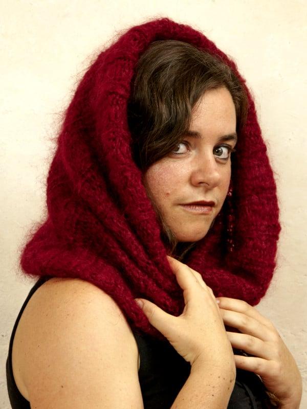 snood laine mohair rouge par la Ferme d'Auré