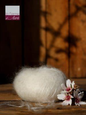 Pelote de laine mohair et soie écru - Mohair de la Ferme d'Auré