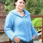 modele tricot mohair veste a capuche