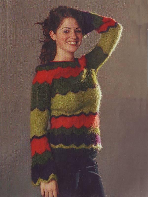 modele fiche tricot pour tricoter pull en mohair à rayures