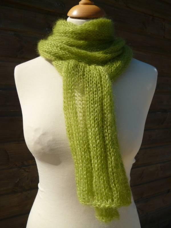 echarpe laine mohair et soie Boa vert anis