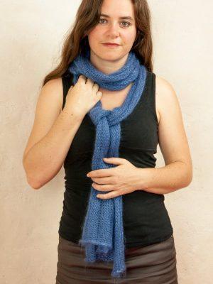 echarpe laine mohair et soie boa bleu