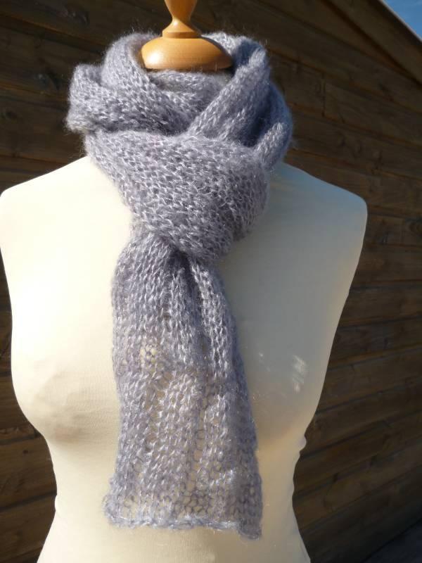 echarpe laine mohair et soie Boa gris clair
