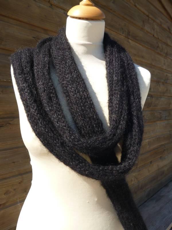 echarpe laine mohair et soie Boa noir