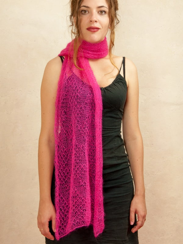 echarpe mohair et soie tricot dentelle