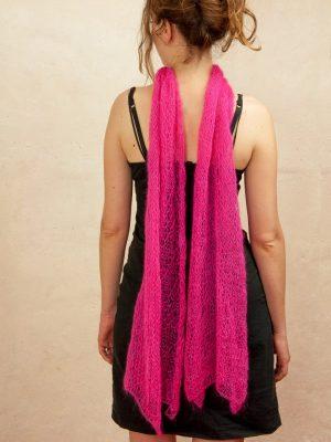 echarpe en laine mohair et soie rose indien