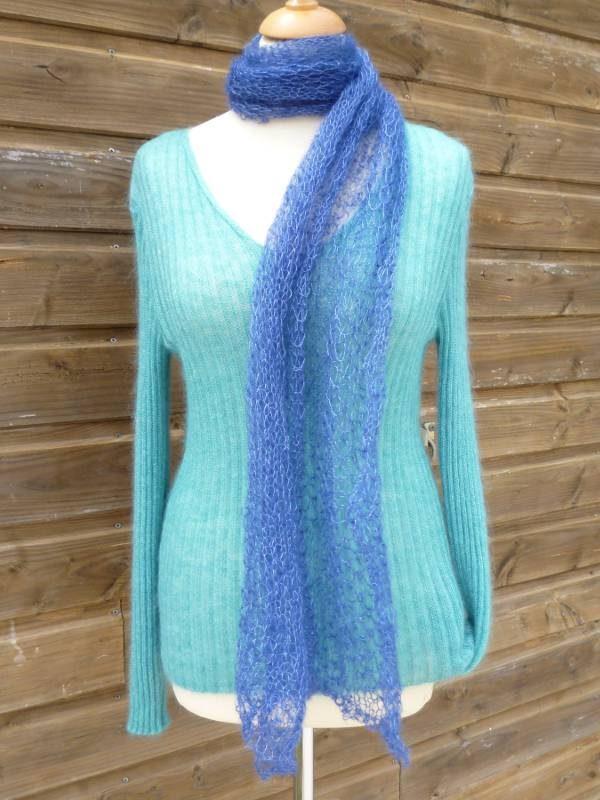 Echarpe laine mohair et soie Feuille bleu