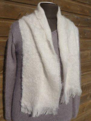 Echarpe laine mohair pour homme écru