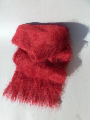 echarpe laine mohair rouge