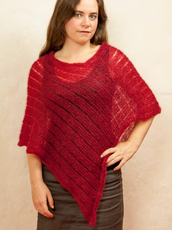 poncho femme laine mohair et soie tricot rouge
