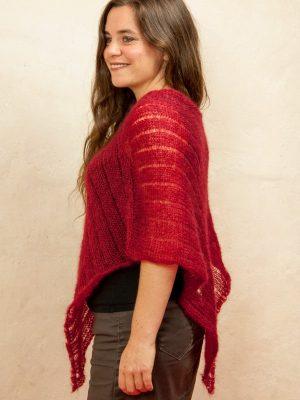 poncho laine mohair et soie rouge