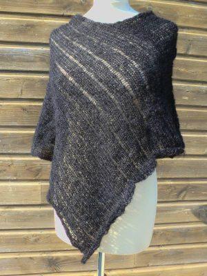 poncho laine mohair et soie noir