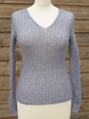 Pull en laine mohair et soie gris