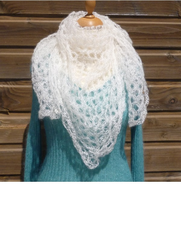 echarpe mohair et soie ecru foulard
