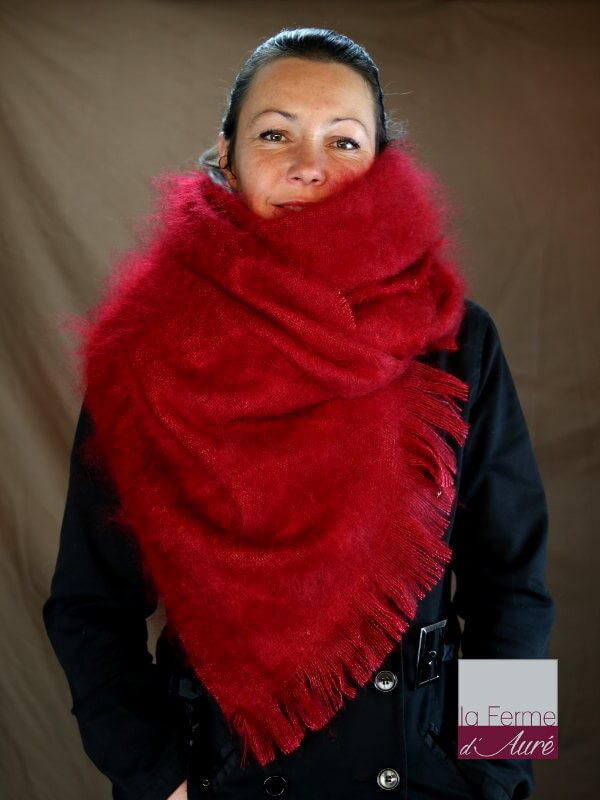 Etole femme mohair rouge