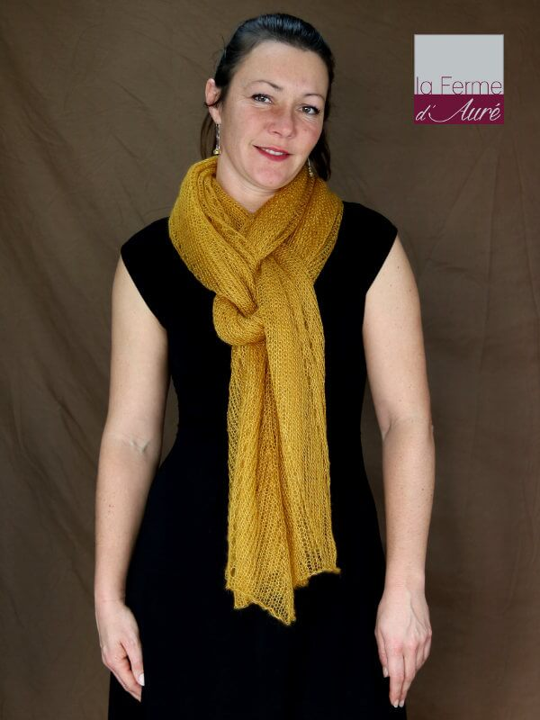 Etole tricot mariage moutarde - Echarpe mohair