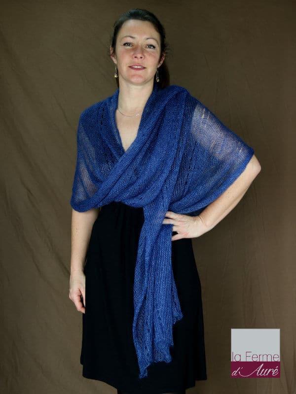 Etole tricot mariage mohair et soie vue de face