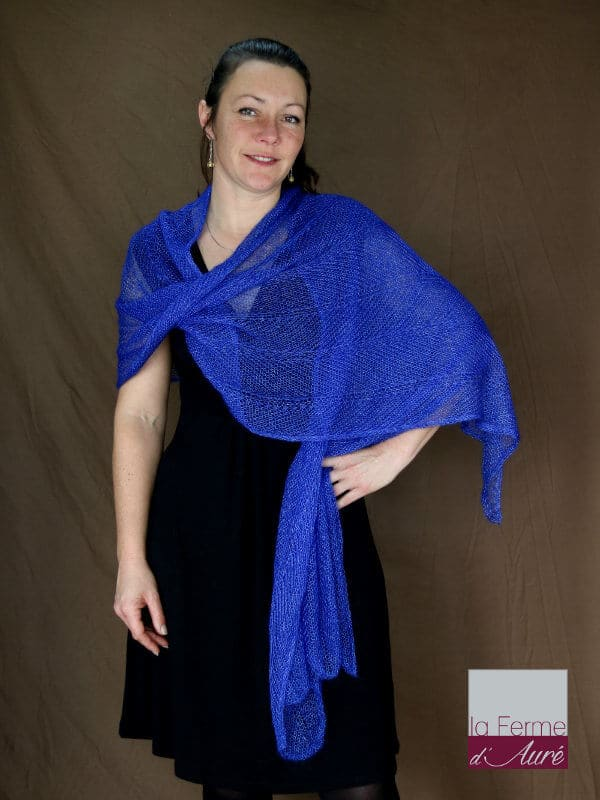 Etole tricot mariage bleu outremer en mohair et soie