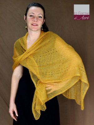 Etole tricot mariage mohair et soie jaune moutarde
