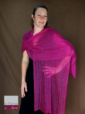 Etole tricot mariage mohair et soie rose indien