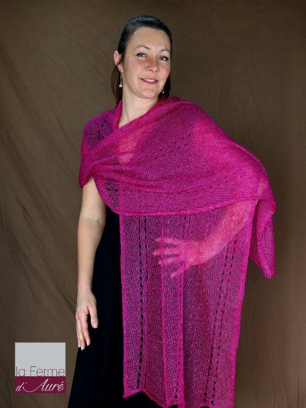 etole mariage rose groseille etole femme en laine mohair et soie. Black Bedroom Furniture Sets. Home Design Ideas