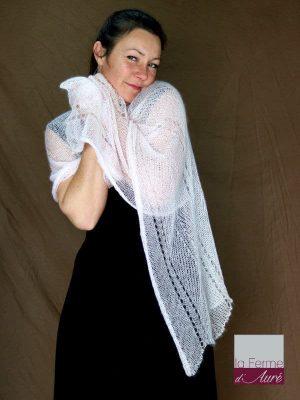 etole tricot mariage rose poudré en mohair et soie