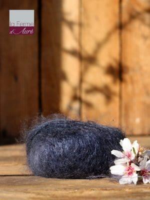 Pelote de laine mohair et soie gris ardoise - Mohair de la Ferme d'Auré