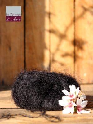 Pelote de laine mohair et soie noir - Mohair de la Ferme d'Auré