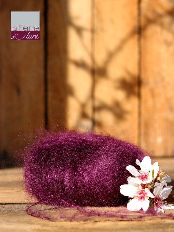 Pelote de laine mohair et soie prune - Mohair de la Ferme d'Auré